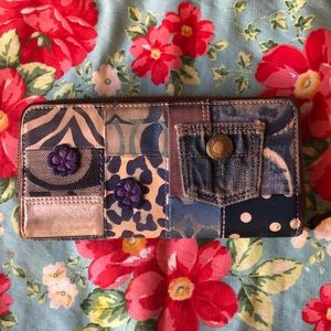 Coach Denim Zip Around Wallet